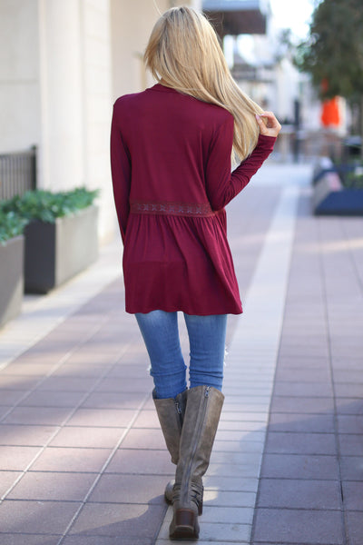 Just Gets Better Cardigan - Wine long sleeve cardigan, back, Closet Candy Boutique