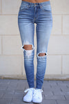 KAN CAN Distressed Skinny Jeans - Faded Wash jeans, Closet Candy Boutique 1