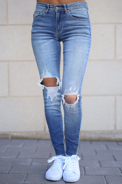 KAN CAN Distressed Skinny Jeans - Faded Wash jeans, Closet Candy Boutique 4