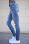 KAN CAN Distressed Skinny Jeans - Faded Wash jeans, Closet Candy Boutique 2