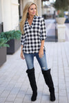 No Rules Top - Black & Ivory checkered plaid v-neck top, outfit, Closet Candy Boutique