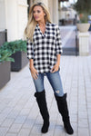 No Rules Top - Black & Ivory checkered plaid v-neck top, front, Closet Candy Boutique