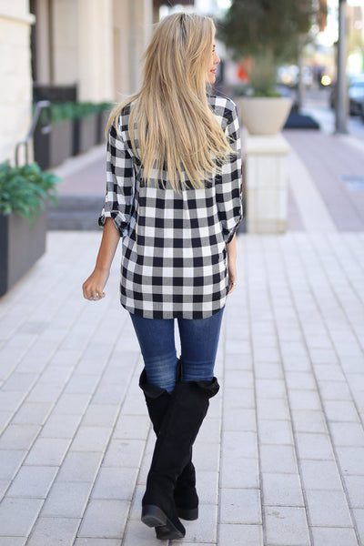 No Rules Top - Black & Ivory checkered plaid v-neck top, back, Closet Candy Boutique