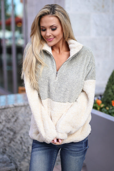 Meet Your Match Pullover - Taupe/Cream colorblock pullover sweatshirt, front, Closet Candy Boutique 2