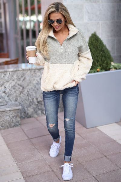 Meet Your Match Pullover - Taupe/Cream colorblock pullover sweatshirt, front, Closet Candy Boutique 1