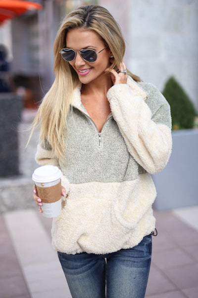 Meet Your Match Pullover - Taupe/Cream colorblock pullover sweatshirt, front, Closet Candy Boutique 4
