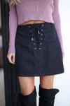 Going Out Denim Skirt - Black denim mini skirt with lace up detail, front, Closet Candy Boutique