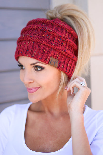 Messy Bun Melange Beanies - knit speckled beanies, wine, Closet Candy Boutique