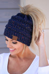 Messy Bun Melange Beanies - knit speckled beanies, navy, Closet Candy Boutique