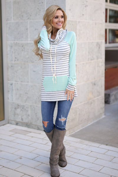 Follow You Anywhere Top - Mint long sleeve stripe cowl neck top, Closet Candy Boutique 4