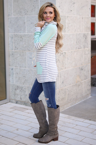 Follow You Anywhere Top - Mint long sleeve stripe cowl neck top, Closet Candy Boutique 2