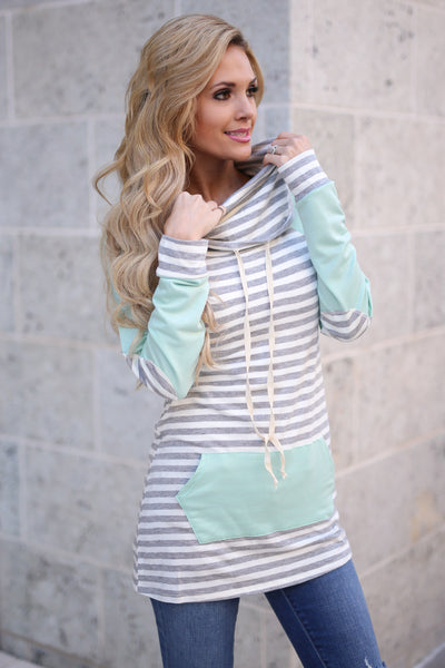 Follow You Anywhere Top - Mint long sleeve stripe cowl neck top, Closet Candy Boutique 1