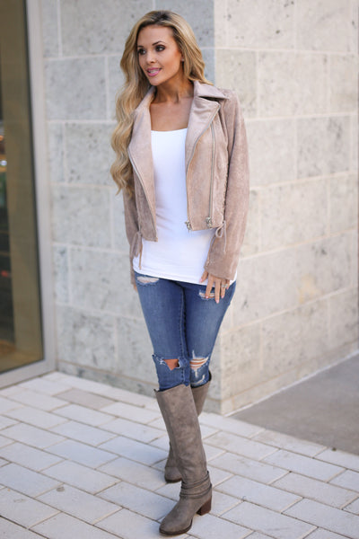 Living the Dream Moto Jacket - Taupe vegan suede zip front moto jacket, outfit view, Closet Candy Boutique
