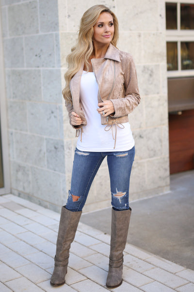 Living the Dream Moto Jacket - Taupe vegan suede zip front moto jacket, front view, Closet Candy Boutique