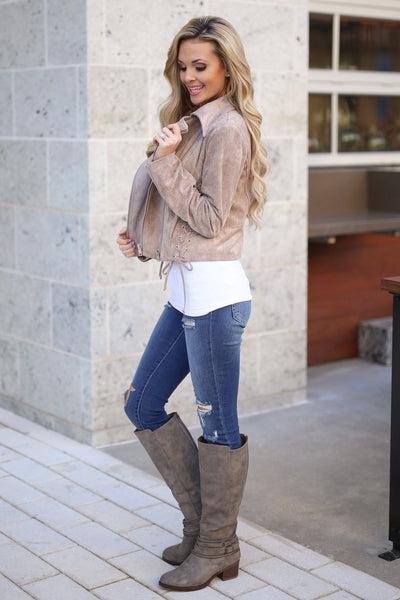 Living the Dream Moto Jacket - Taupe vegan suede zip front moto jacket, side view, Closet Candy Boutique