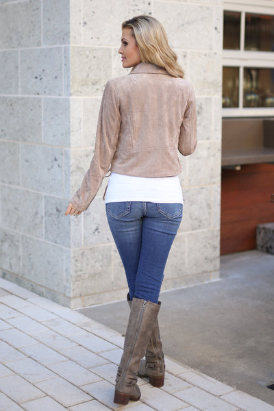 Living the Dream Moto Jacket - Taupe vegan suede zip front moto jacket, back view, Closet Candy Boutique