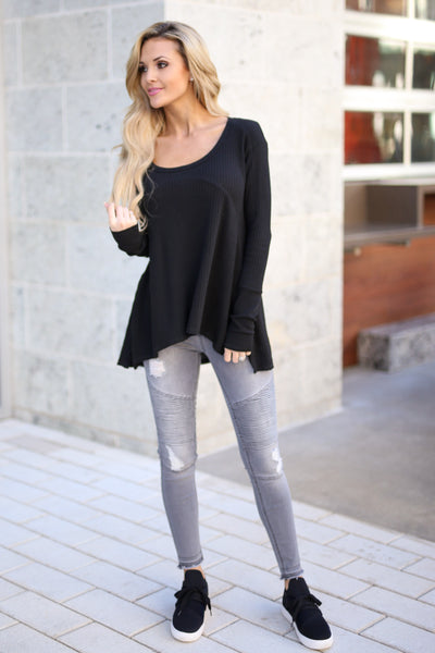 Catch My Attention Top - Black long sleeve top, outfit, Closet Candy Boutique