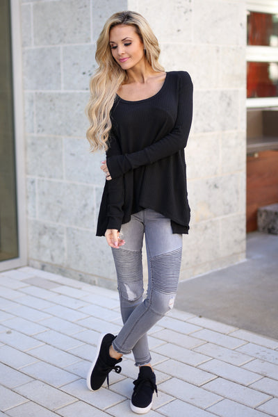Catch My Attention Top - Black long sleeve top, front, Closet Candy Boutique