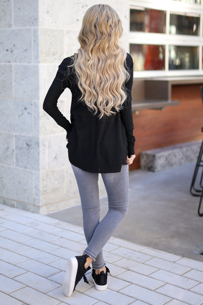 Catch My Attention Top - Black long sleeve top, back, Closet Candy Boutique