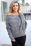 GRACE & LACE On the Flip Side Sweater - Marbled Black long sleeve off the shoulder dolman sweater, front, Closet Candy Boutique