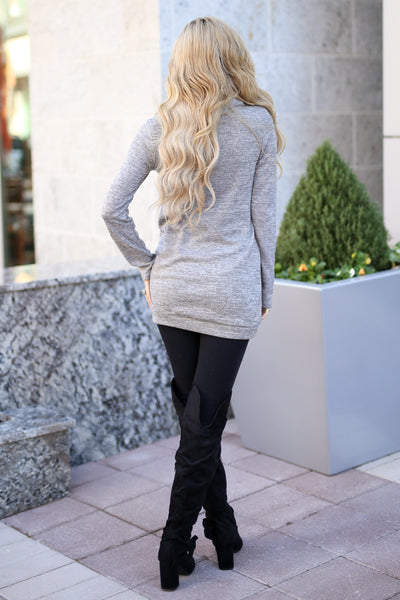 Wherever You Are Pullover - Heather Grey cowl neck pullover sweatshirt, back, Closet Candy Boutique