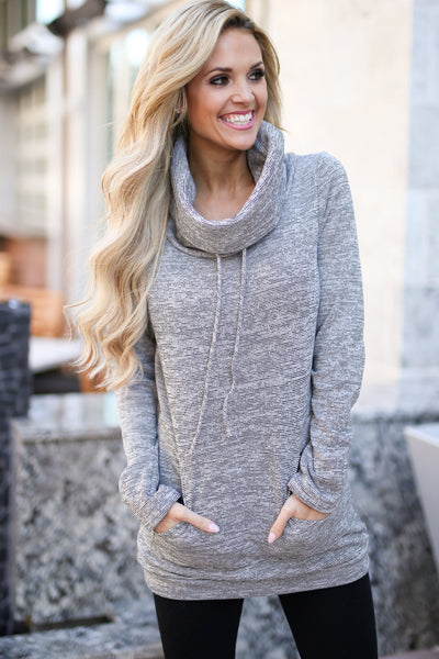 Wherever You Are Pullover - Heather Grey cowl neck pullover sweatshirt, front, Closet Candy Boutique