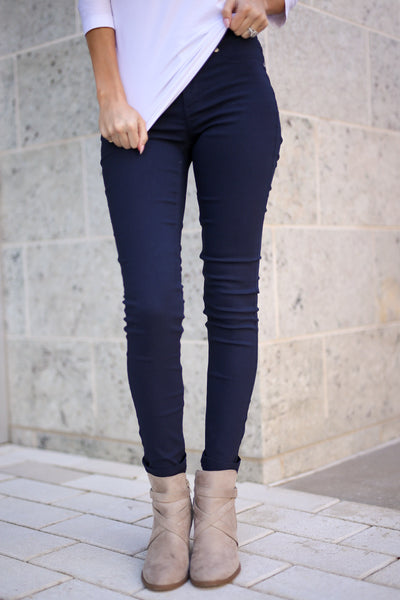 Chic & Sleek Pants - Navy skinny pants, front, Closet Candy Boutique 2