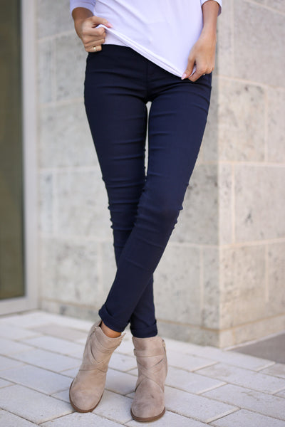 Chic & Sleek Pants - Navy skinny pants, front, Closet Candy Boutique 5