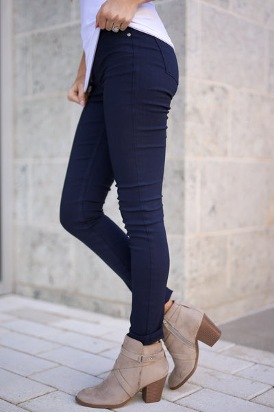 Chic & Sleek Pants - Navy skinny pants, side, Closet Candy Boutique 1