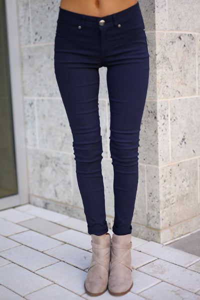 Chic & Sleek Pants - Navy skinny pants, front, Closet Candy Boutique 3
