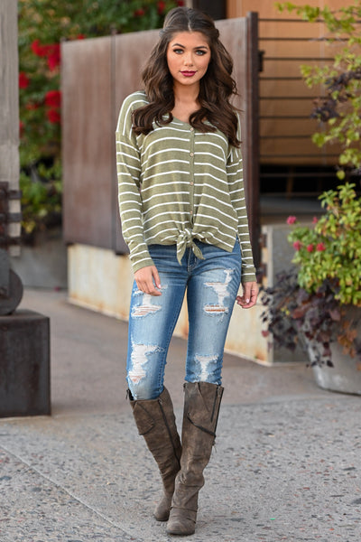 Only Want You Tie Front Top - Olive women's long sleeve button up striped top, Closet Candy Boutique 1