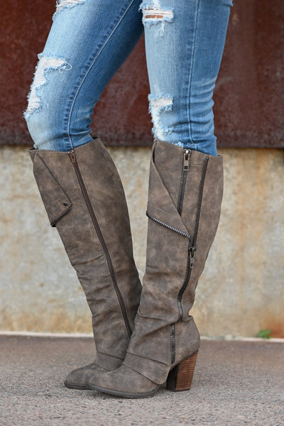 Valda Knee-High Boots - Taupe Women's exposed zipper stacked heel boots, Closet Candy Boutique 2