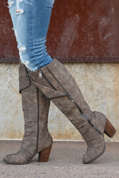 Valda Knee-High Boots - Taupe Women's exposed zipper stacked heel boots, Closet Candy Boutique 4