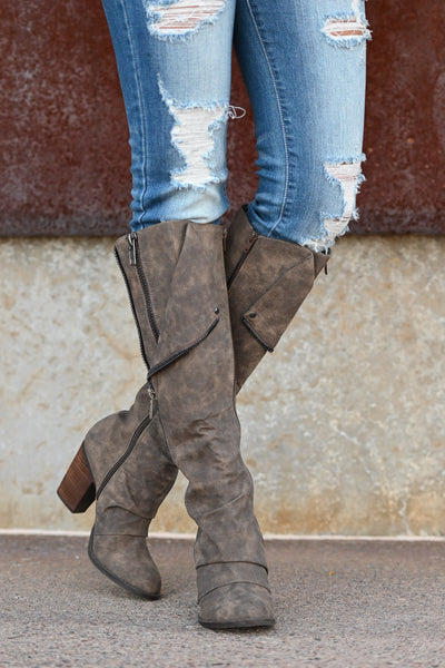 Valda Knee-High Boots - Taupe Women's exposed zipper stacked heel boots, Closet Candy Boutique 1