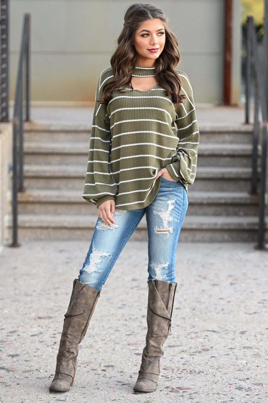 It's Gotta Be Love Striped Top - Olive women's choker neckline puff sleeve top, Closet Candy Boutique 1