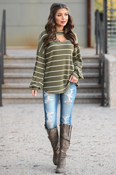 It's Gotta Be Love Striped Top - Olive women's choker neckline puff sleeve top, Closet Candy Boutique 4