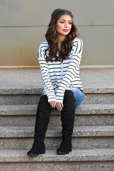 Only Want You Tie Front Top - Ivory women's long sleeve button up striped top, Closet Candy Boutique 1