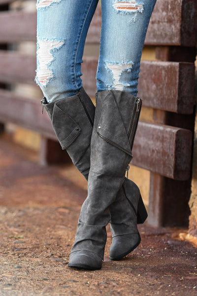 Valda Knee-High Boots - Charcoal Women's exposed zipper stacked heel boots, Closet Candy Boutique 2