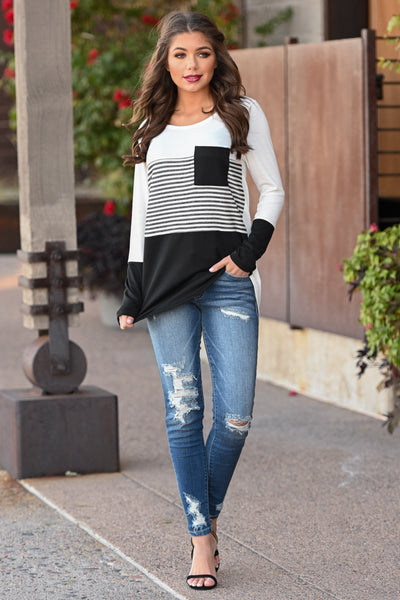 Resolutions Color Block Top - Black women's striped top with chest pocket, Closet Candy Boutique 2