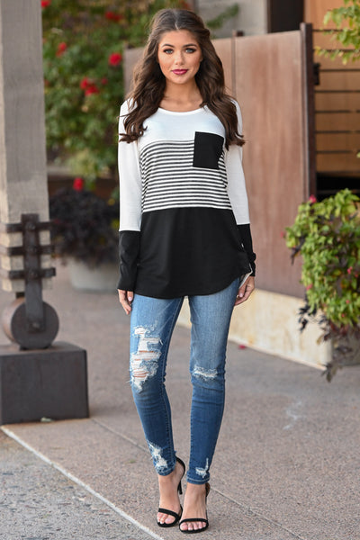 Resolutions Color Block Top - Black women's striped top with chest pocket, Closet Candy Boutique 3