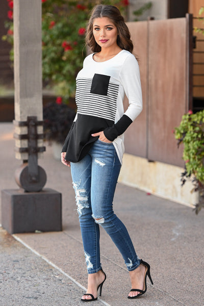Resolutions Color Block Top - Black women's striped top with chest pocket, Closet Candy Boutique 1