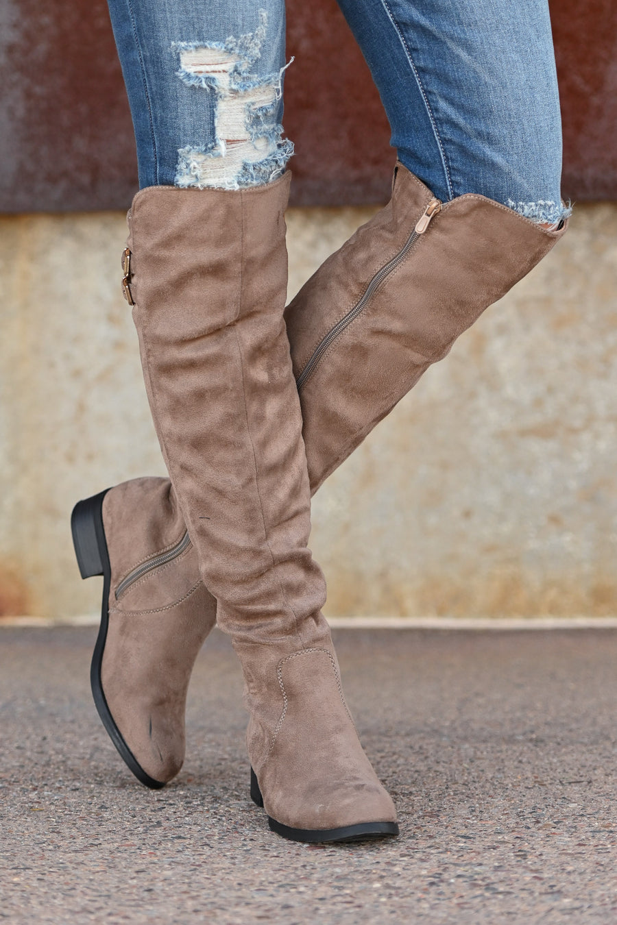Kenzie Knee-High Boots - Taupe women's knee-high boots, Closet Candy Boutique 1