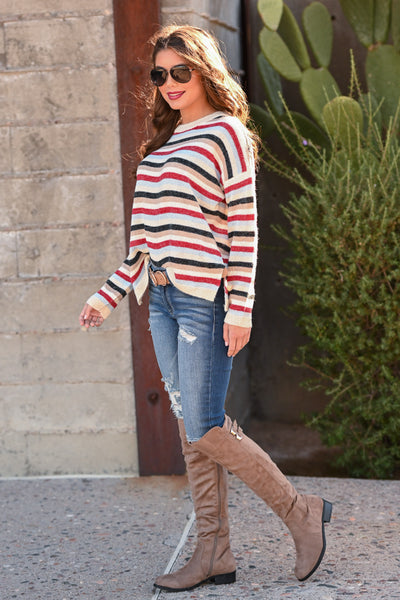 Future So Bright Striped Sweater women's long sleeve vibrant colorful striped top, Closet Candy Boutique 3