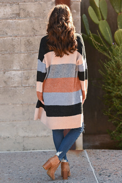 Making Moves Color Block Cardigan women's colorful striped cardigan sweater, Closet Candy Boutique 3