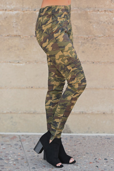 Best Kept Secret Camo Pants - camouflage women's moto pants, closet candy boutique 3