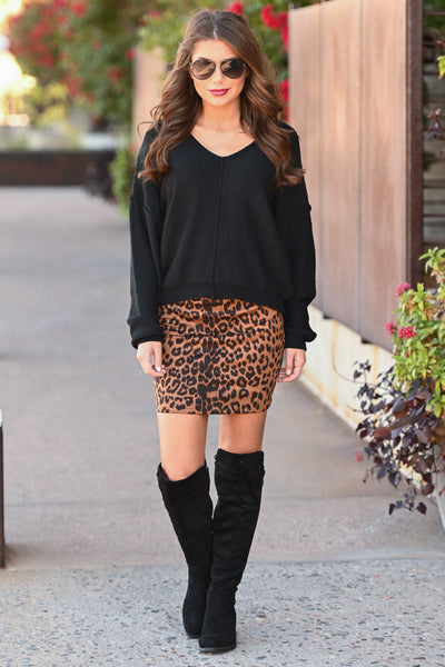 Fashion Week Leopard Skirt - Copper women's vegan suede animal print mini skirt, Closet Candy Boutique 3