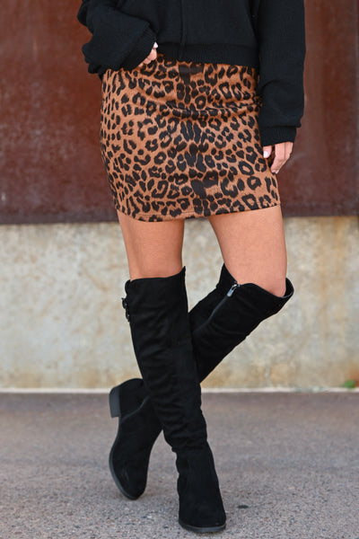 Fashion Week Leopard Skirt - Copper women's vegan suede animal print mini skirt, Closet Candy Boutique 1