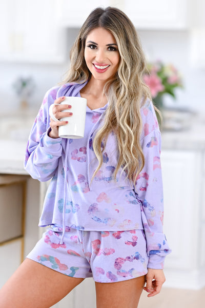 Wild Dreamer Leopard Loungewear - Lilac womens colorful hoodie shorts closet candy 4