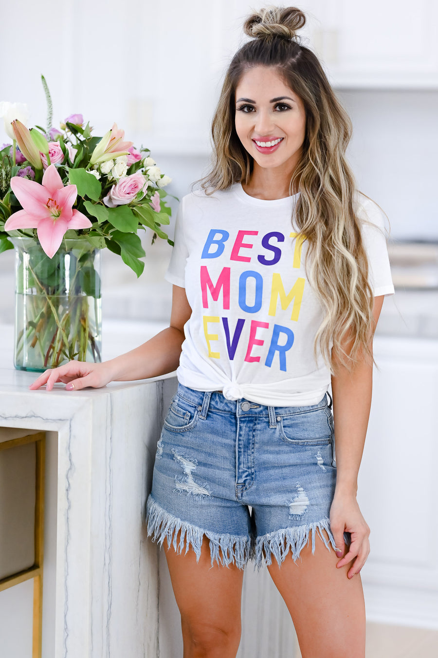 Best Mom Ever Graphic Tee - White womens casual short sleeve graphic tee closet candy front