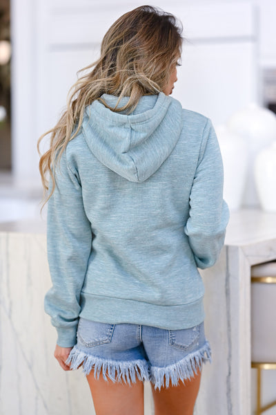 Make Yourself At Home Hoodie - Marled Dusty Blue womens casual long sleeve hooded sweatshirt closet candy back